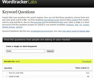 Free marketing tool - keyword questions